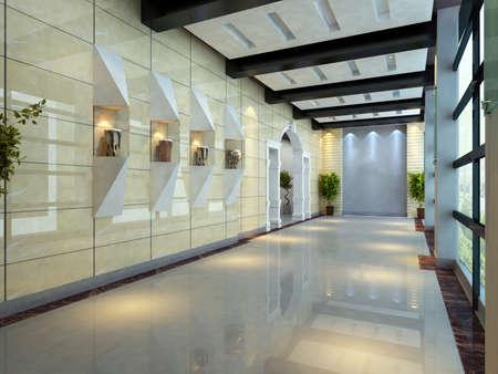 render residence: Modern corridor interior image (3D rendering)