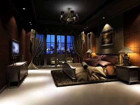 chambre luxe: rendu de l'int�rieur de la maison ax� sur chambre � coucher