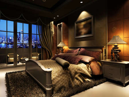 interior design living room: rendering of home interior focused on bed room