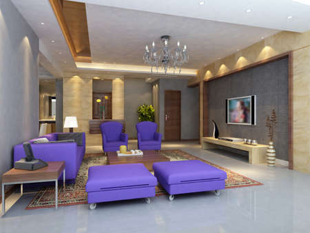 interior drawing: Interior fashionable living-room rendering  Stock Photo