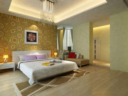 focused: rendering of home interior focused on bed room