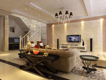 Interior fashionable living-room rendering Stock Photo - 9535123