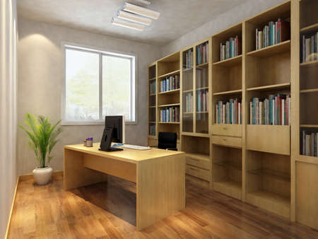 home office desk: 3d render interior of  study room
