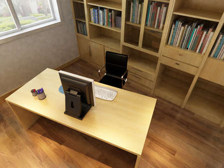 3d render interior of  study room photo