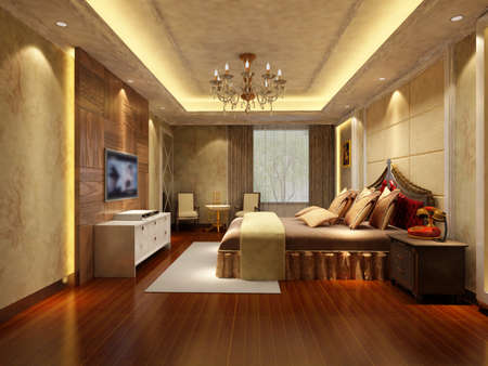 rendering of home interior focused on bed room Stock Photo - 9535126