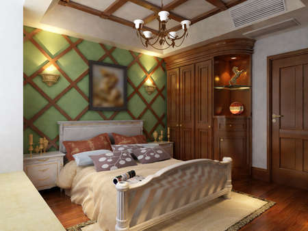 home improvements: rendering of home interior focused on bed room  Stock Photo