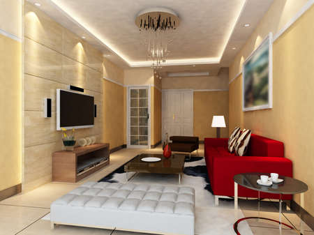 Interior fashionable living-room rendering Stock Photo - 9535066
