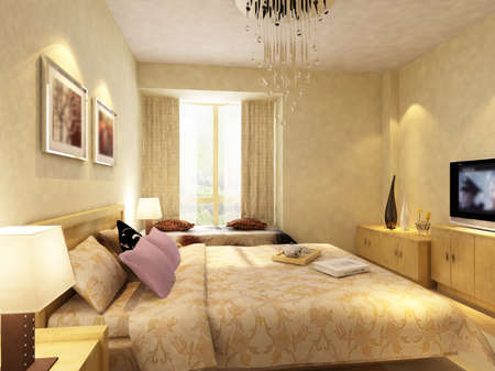 interior decorating: rendering of home interior focused on bed room  Stock Photo
