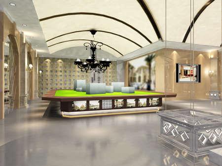 hotel reception: hall rendering