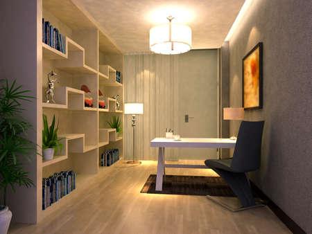 estanterias: 3d render interior de la sala de estudio Foto de archivo