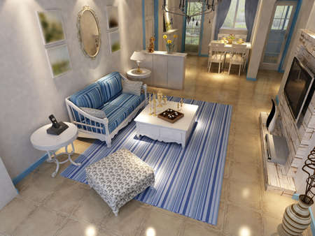 Interior fashionable living-room rendering