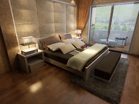 focused: rendering of home interior focused on bed room  Stock Photo