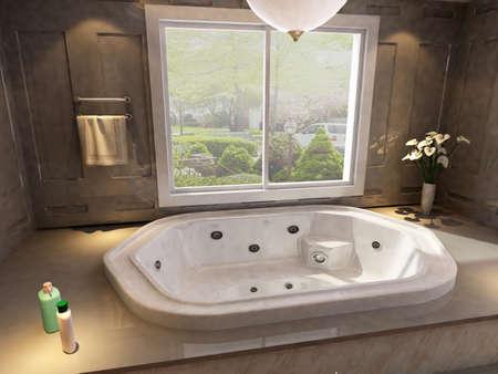 rendering of the modern bathroom interior  版權商用圖片
