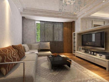 Modern design interior of living-room. render  Reklamní fotografie