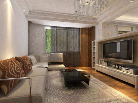 Modern design interior of living-room. render  Stock Photo