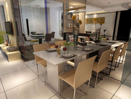 Modern design interior of living-room. render Stock Photo - 9713102