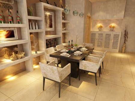 Modern design interior of living-room. render  photo