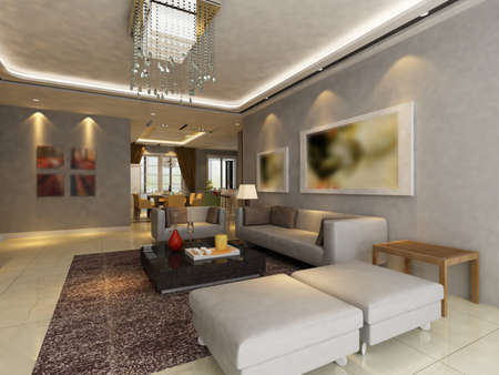 Modern design interior of living-room. render Stock Photo - 9713078
