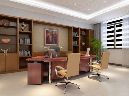 decoration work: rendering office room