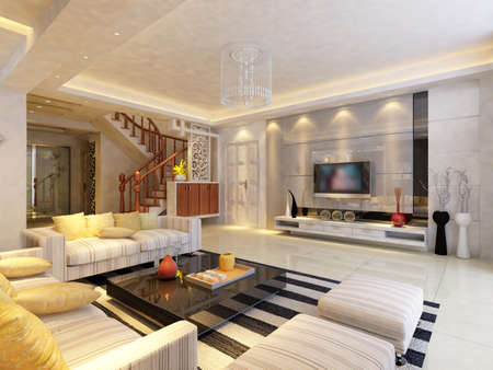 Modern design interior of living-room. render Stock Photo - 9713109