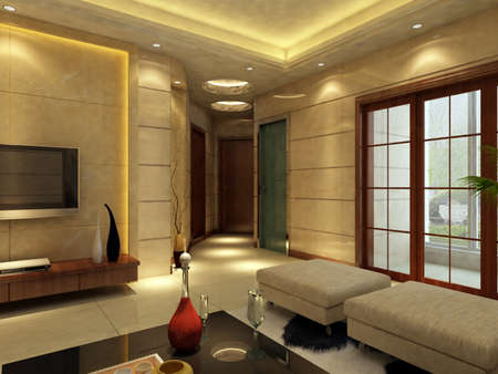 Modern design interior of living-room. render  Stock Photo - 9713099