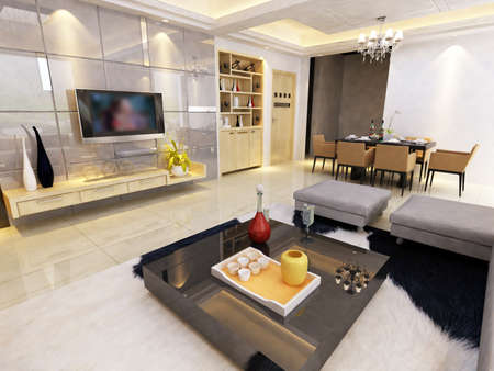condominium: Modern design interior of living-room. render  Stock Photo