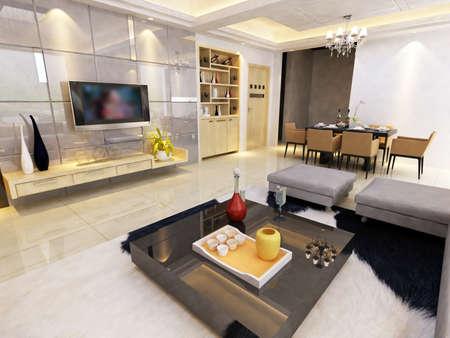 Modern design interior of living-room. render Stock Photo - 9713101