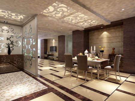 inside technology: Modern design interior of living-room. render  Stock Photo