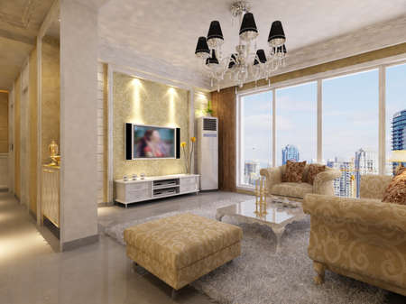 Modern design interior of living-room. render  Stock Photo - 9713115