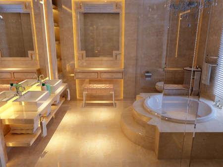 bathroom tiles: rendering of the modern bathroom interior  Stock Photo
