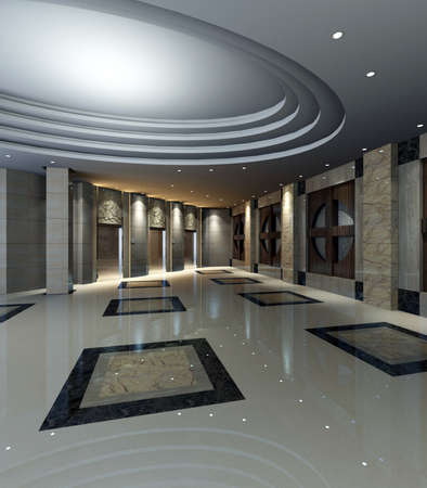 hotel reception: hotel hall rendering  Stock Photo