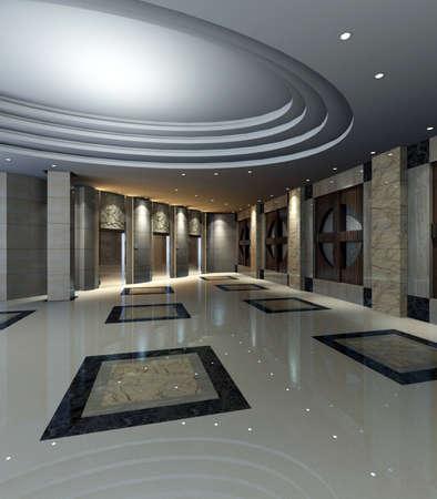reception hotel: hotel hall rendering  Stock Photo