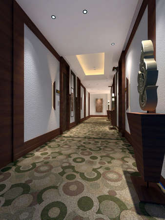 hallway: Interior fashionable living-room rendering  Stock Photo