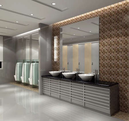 the bathroom with modern style.3d render  photo