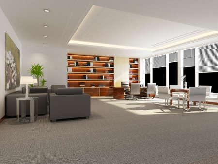 modern office interior 3d rendering  photo