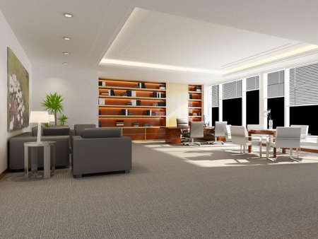 rendered: modern office interior 3d rendering