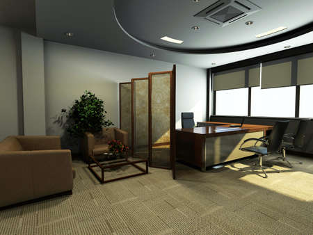easy chair: modern office interior 3d rendering
