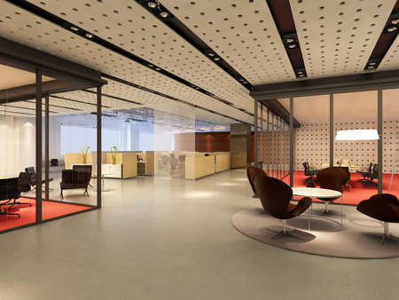 light room: modern office interior 3d rendering