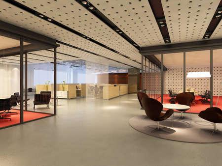 mobiliario de oficina: Oficina moderno interior representaci�n 3d  Foto de archivo