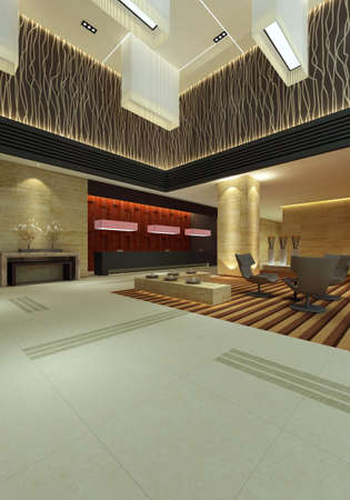hotel hall rendering  Stock Photo - 9821270
