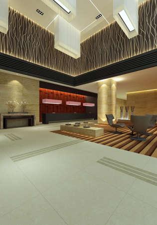 hotel hall rendering Stock Photo - 9821270