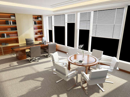 office interior design: modern office interior 3d rendering