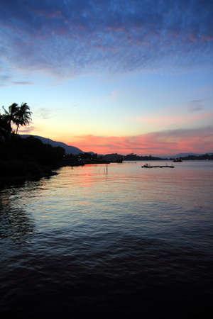 sumatra: sunset in Toba lake
