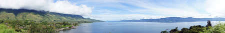 volcanic landscape: Panorama of Lake toba                              Stock Photo