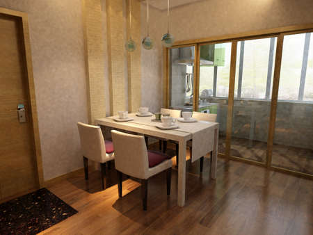 3d rendering of home interior  photo