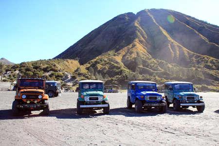 jeeps  near the volcano