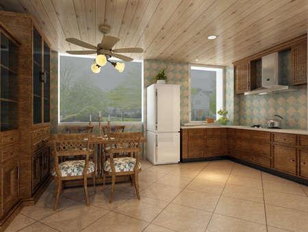 vizualisation: rendering kitchen room