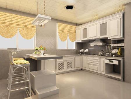 vizualisation: Interior of modern kitchen Stock Photo
