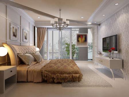 case moderne: il rendering camera da letto