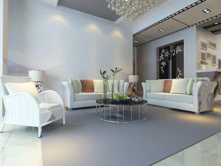 representación 3D del interior casero.